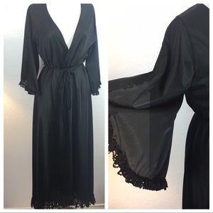 Vintage Black Dressing Gown Robe Kimono Length